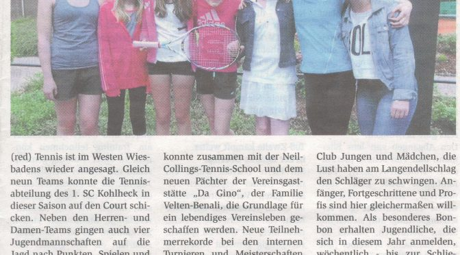 1.SC Kohlheck will sportlich wachsen (Dotzheimer Kontakte – September 2014)